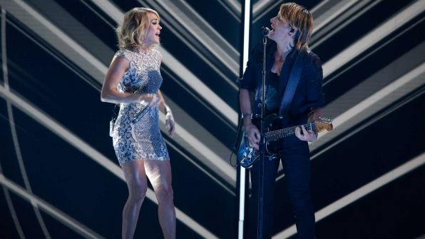 "Carrie Underwood and Keith Urban perform ""The Fighter"" at the 2017 GRAMMY Awards."
