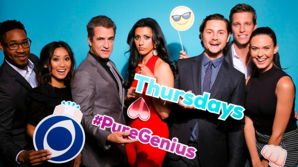 Aaron Jennings, Brenda Song, Dermot Mulroney, Reshma Shetty, Augustus Prew, Ward Horton, and Odette Annable from Pure Genius