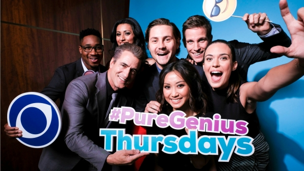 Aaron Jennings, Dermot Mulroney, Reshma Shetty, Augustus Prew, Brenda Song, Ward Horton, and Odette Annable from Pure Genius