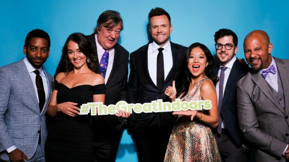 Shaun Brown, Susannah Fielding, Stephen Fry, Joel McHale, Christine Ko, Christopher Mintz-Plasse, and Chris Williams from The Great Indoors
