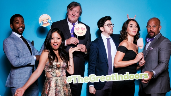 Shaun Brown, Christine Ko, Stephen Fry, Christopher Mintz-Plasse, Susannah Fielding, and Chris Williams from The Great Indoors