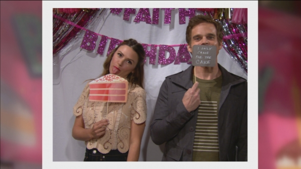 Chloe (Elizabeth Hendrickson) and Kevin (Greg Rikaart) came for the cake.