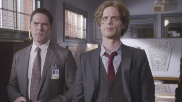 Hotch and Reid discuss the grisly case.