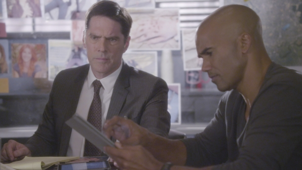 Hotch and Derek reflect on the clues.