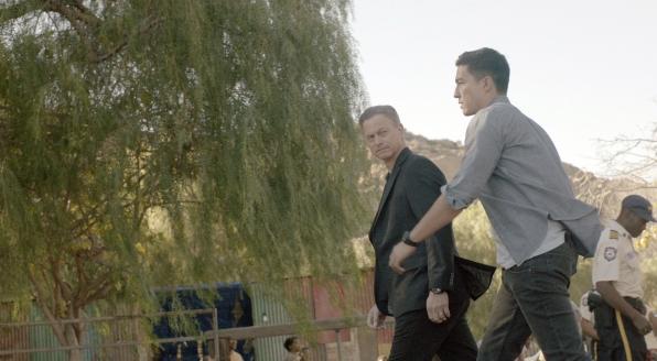 Jack Garrett explores the scene with Matthew Simmons.