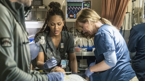 Meagan Good as Dr. Grace Adams and Bonnie Somerville as Dr. Christa Lorenson
