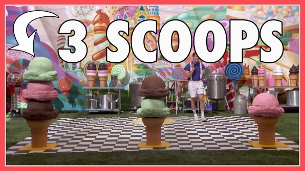 """Question: How many scoops of ice cream were on the left cone in the winning round of the """"Scooper Star"""" POV?"""