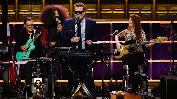 17. With bandleader Reggie Watts, Corden is complete