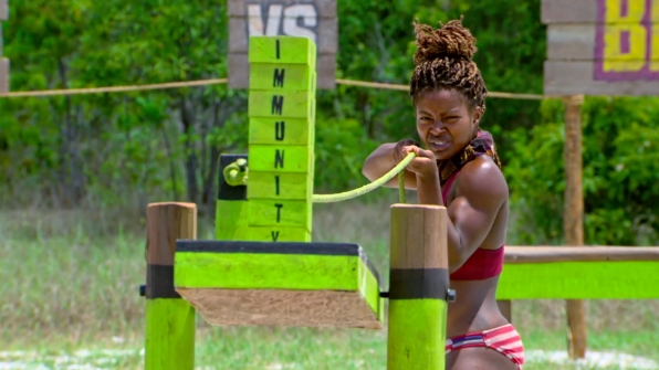 Each of the Final 6 castaways fight for safety during the Individual Immunity Challenge.