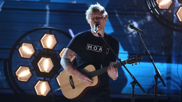 "Ed Sheeran performs ""Shape Of You"" at the 2017 GRAMMY Awards"