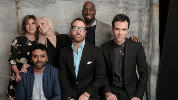 Natalia Tena, Jake Matthews, Monica Potter, Jeremy Piven, Richard T. Jones, and Blake Lee of Wisdom Of The Crowd