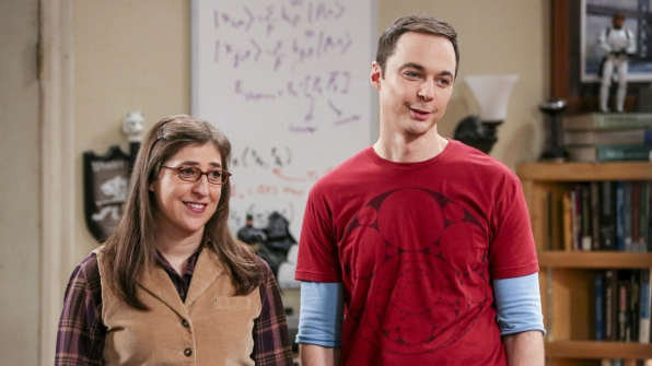 "ShAmy happily bestow a ""gift"" to Leonard and Penny."