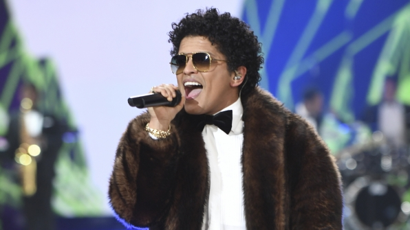 Bruno Mars belts it out.