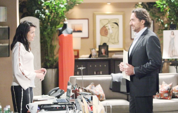 Quinn shows her appreciation to Ridge for standing up for her and ridding their lives of Sheila.
