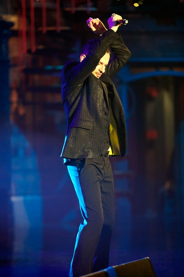 Dave Gahan struts his stuff on stage of the Ed Sullivan Theater