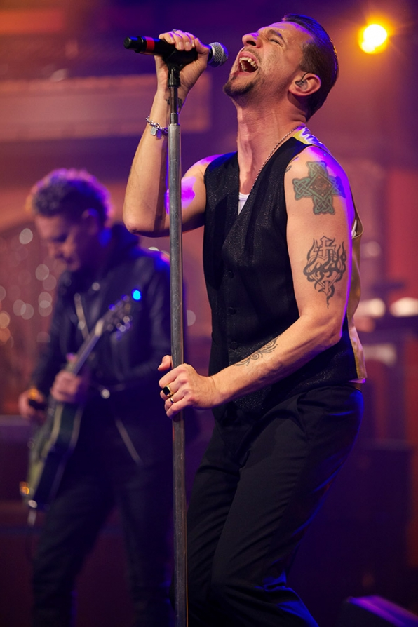 Depeche Mode onstage at the Ed Sullivan Theater.