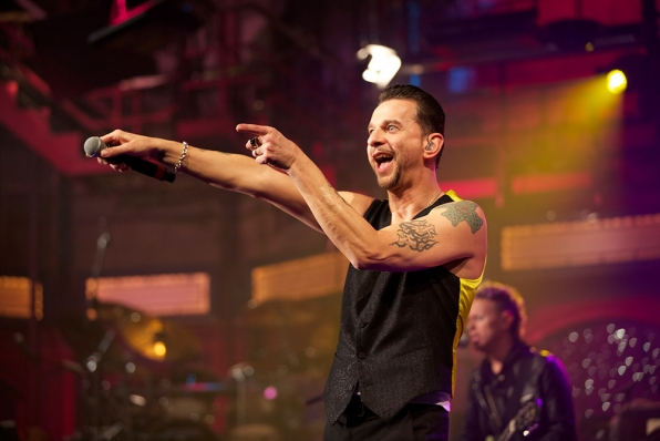Dave Gahan has fun with the crowd at the Ed Sullivan Theater.