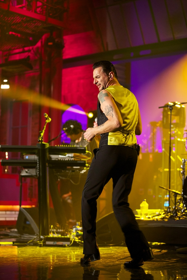 Dave Gahan shows off his moves on the stage of the Ed.