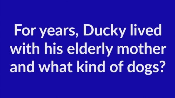 5. For years, Ducky lived with his elderly mother and what kind of dogs?