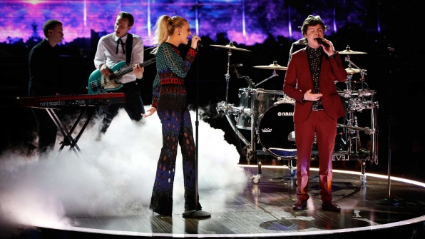 "Kelsea Ballerini and Lukas Graham perform a mashup of ""Peter Pan"" and ""7 Years"" at the 2017 GRAMMY Awards."