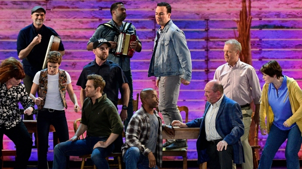 """The cast of Come From Away delivers a rousing rendition of """"Welcome to the Rock"""""""