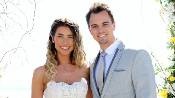 Steffy and Wyatt Spencer read their personalized vows at the beach in 2016.