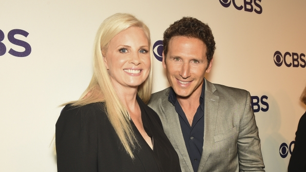 Monica Potter from Wisdom Of The Crowd poses with Mark Feuerstein of 9JKL.