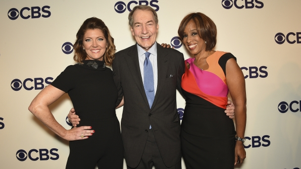 Norah O'Donnell, Charlie Rose, and Gayle King from CBS This Morning celebrated the evening.