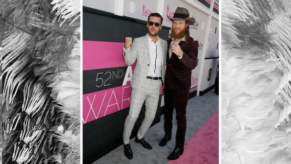 Brothers Osborne start the celebration early outside of T-Mobile Arena.