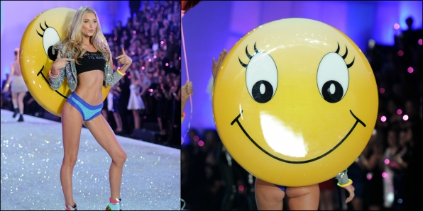Elsa Hosk literally put on a happy face.