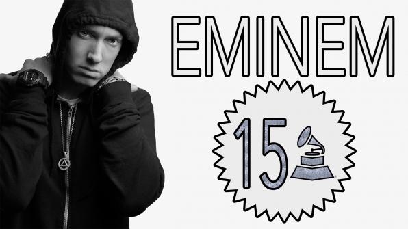 Eminem with 15 GRAMMY Awards