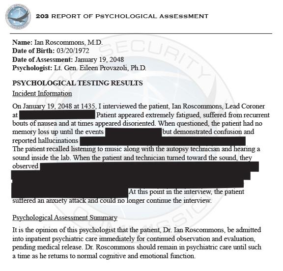 Ian Roscommons Psychological Assessment