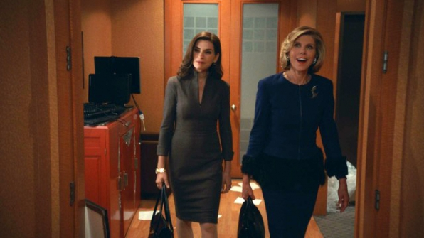 1. Alicia and Diane look triumphant on their return to the Lockhart & Gardner offices.