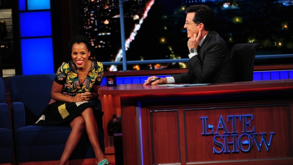 Kerry Washington and Stephen Colbert
