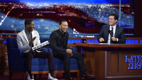 John Legend, Jon Batiste, and Stephen Colbert