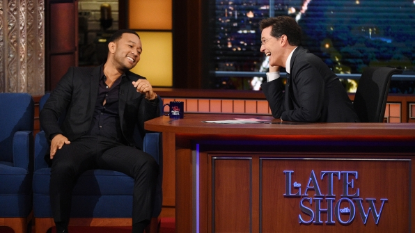 John Legend and Stephen Colbert