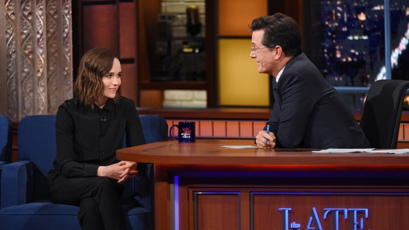 Ellen Page and Stephen Colbert