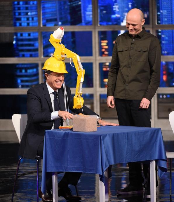 Dominic Wilcox and Stephen Colbert