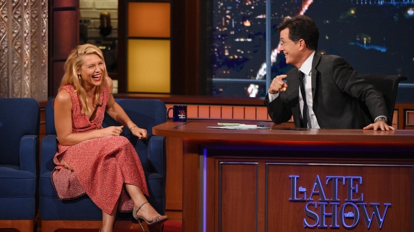 Claire Danes and Stephen Colbert