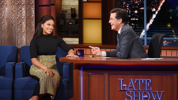 Gina Rodriguez and Stephen Colbert