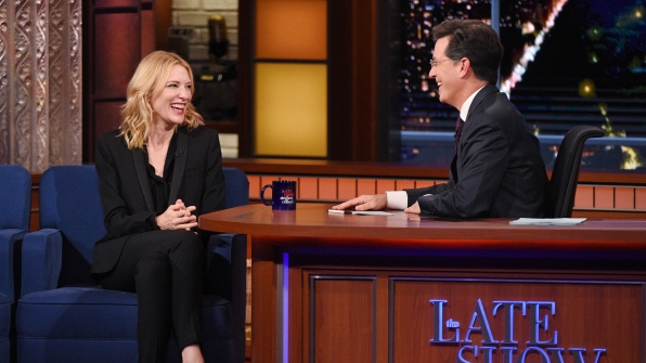 Cate Blanchett and Stephen Colbert