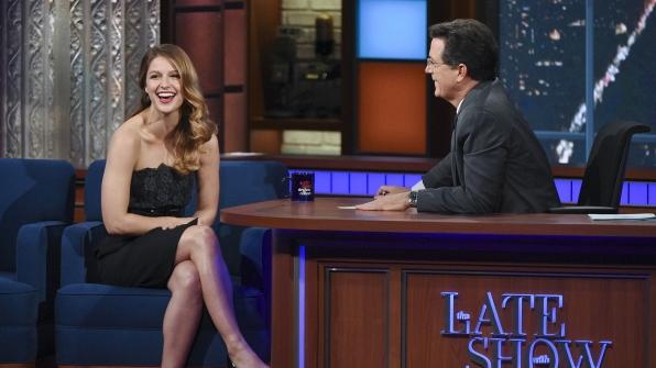 Melissa Benoist and Stephen Colbert