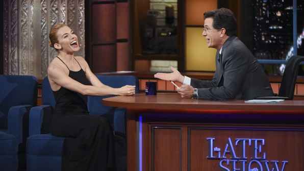 Sienna Miller and Stephen Colbert