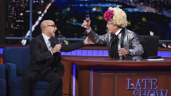 Stanley Tucci and Stephen Colbert