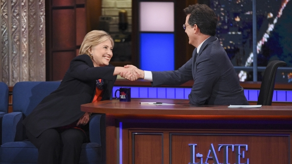 Hillary Clinton and Stephen Colbert
