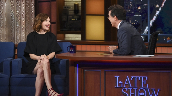 Carrie Brownstein and Stephen Colbert