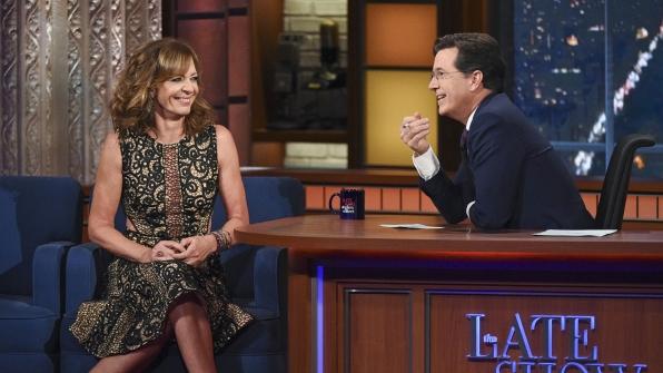 Allison Janney and Stephen Colbert