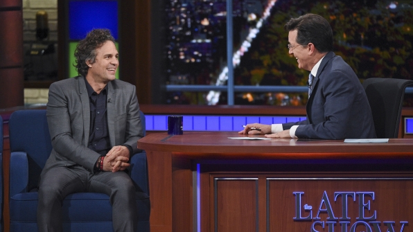 Mark Ruffalo and Stephen Colbert