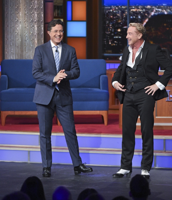 Michael Flatley and Stephen Colbert