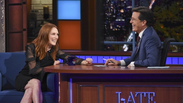 Julianne Moore and Stephen Colbert